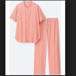 UNIQLO Cotton Linen Short Sleeve Pajamas Pink S